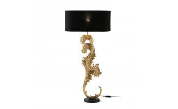 25494/00 - Lámpara de sobremesa 22x18x77 madera negro/metal dorado con pantalla negro